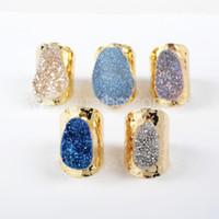 druzy de titanio al por mayor-¡Nueva llegada! Anillo Titanium plateado oro G0890 de la venda de Druzy del arco iris de la ágata natural ovalada