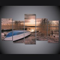 Wholesale Oil Paintings Ship Lake - 5 Pcs Set Framed Printed sunset lake boat landscape Painting on canvas room decoration print poster picture canvas Free shipping ny-4553