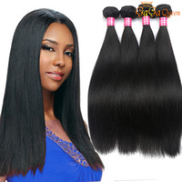 Wholesale Hair Extensions Indian - 8A Brazilian Straight Virgin Hair 4 Bundles Unprocessed Brazilian straight hair weave bundles Cheap Peruvian Malaysian Human Hair Extensions