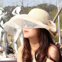 Wholesale hats lace - Wholesale- Lace Summer Sun Hats For Women New Fashion Sombreros Wide Brim Beach Side Cap Floppy Female Straw Hat Chapeu de Praia