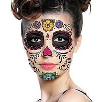 pegatinas de mascarilla al por mayor-Halloween Day Of The Dead Dia de los Muertos Máscara facial etiqueta engomada del tatuaje a prueba de agua para el partido de la mascarada maquillaje de la cara de belleza