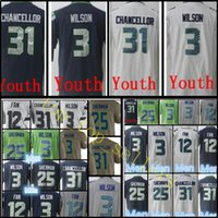 Seattle Youth Kid Homme Seahawk # 3 Russell Wilson 31 Kam Chancellor Jersey Homme 25 Richard Sherman 12 Fan Vapor Maillots à bas prix