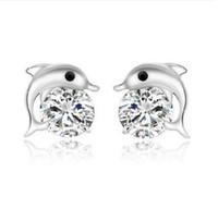 yunus mücevheratı gümüş toptan satış-Yunus 925 Ayar Gümüş Küpe Damızlık Kristal Yunuslar Hayvan Saplama Küpe Düğün Kadınlar için Takı Damızlık