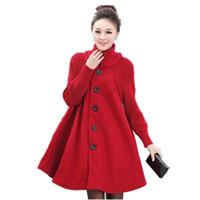 kadın uzun yün kışlık toptan satış-Artı Boyutu Yün Coat Kış Ceket Kadınlar Cloak Stil Yün Ceket Balıkçı Yaka Örme Dikiş Maxi Palto Uzun Ceket Parkas C2675