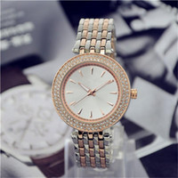 Wholesale Black Crystal Belts - Simple classic design style Luxury Fashion Double Crystal Diamond Ma'am Watches steel belt Quartz Large dial Ladies quartz watch wholesale