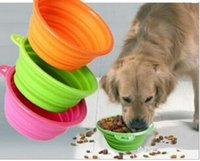 Wholesale Small Travel Jars - olding Silicone Pet Bowl For Both Food and Water Portable Travel Dog and Cat Bowl Free Carry Hanging Hook camp pet jars