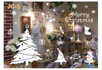 Wholesale Wholesale Paper Snowflake Decorations - DIY Christmas Cartoon Snowflake Wall Stickers Removable Home Decor Decals Sticker Wallpaper Rolls Party Decoration Wall Paper For Window