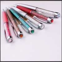 Wholesale Swarovski Crystal Ballpoint Pens - Wholesale Writing Stationery Fashion Colors Diamond Crystal Ballpoint Pen Swarovski Roller Ball Pens School Office Supplies for Gift