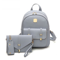 Wholesale Leather Backpack Camping - Fashion Composite Bag Pu Leather Backpack Women Cute 3 Sets Bag School Backpacks For Teenage Girls Black Bags Letter Sac A Dos