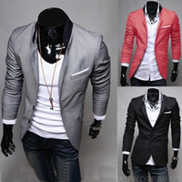 Wholesale Stylish Korean Fashion Mens - Hot Fashion Mens Regular Blazer Suits Casual Slim Blazer Party Evening Suits Fit Stylish Korean Dress Coats Jackets Suit