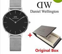 Wholesale mesh watches - Original BOX Ship top luxury brand Daniel women men Wellington's fashion Lovers women steel mesh gold mens watches montre femme relojes