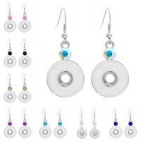 Яркие моды Snap Buttons Earrings 8 Colors Fit 18mm Button Crystal Rhinestone Hoop Hook Earring Ювелирные изделия 40pairs F456E