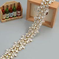 Wholesale Thin Girl Dress - Crystal Rhinestone Trim by the Yard Wholesale Bridal Trim Thin Crystal Trim Rose Gold Rhinestone Applique Wedding Dresses Belt