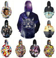 Wholesale Pink Zombie - Wholesale-New fashion men women 3d zip jackets print cat zombie cartoon hooded sweatshirt tops Unisex 3d Harajuku hoodies plus size S-XXL
