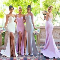 Wholesale Plain Ivory Bridesmaid Dress - 2018 Mermaid Side Split Spaghetti Straps Plain Bridesmaid Dresses Sexy Backless Stretchy Long Maid of Honor Gowns