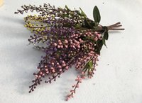 Wholesale Vine Fruit - 5 Bundles Artificial Auspicious fruit Branch Leaf-shaped For Home Office Wedding Garden Decoration