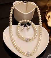 Wholesale Pearls Disco Balls - High Quality Cream Glass Pearl and Disco Rhinestone Ball Women Bridal Necklace Bracelet and Earrings Wedding Jewelry Sets