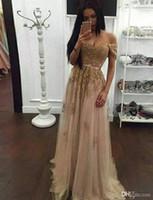 robe jaune fluide achat en gros de-Champagne dentelle perlée arabe robes de soirée sweetheart une ligne tulle hors de l'épaule robes de bal Vintage bon marché formelle robes de soirée concepteur