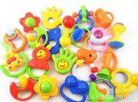 Wholesale Modern Kids Plastic Toys - Modern Animal Handbells Developmental Toy Kids Baby Rattle Lovely Apr12 (5 pieces lot)