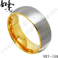 Wholesale Tungsten Wedding Bands For Men - 8mm 6mm Brush Top Gold Half-Round Tungsten Wedding Band for Men WRY-308