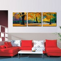 Wholesale Usa Artwork - 3 Picture Combination Canvas Maple Tree Nature USA Design Paintings for Home Decor Dual View Surprise Artwork Modern Wall Art