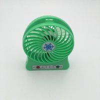 Wholesale Green Usb Mini Fan - 2016 hot sell Mini Protable Fan Multifunctional USB Rechargerable Kids Table Fan LED Light 18650 Battery -green