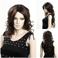 W3350 Europe popular Mulheres Sintéticas Long Curly Wigs 28inch Dark Brown Hairpiece 100% Kanekalon Nova chegada