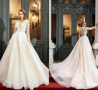 Wholesale Illusion Plugs - Charming Long Sleeves Wedding Dresses Sexy Plugging V Neck Illusion Back Country Wedding Gowns with Beaded Appliques Bridal Dresses Vestido
