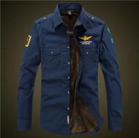 men uniform air force venda por atacado-New Air Force One Fleece Camisa Grossa Dos Homens de Algodão Marca Militar Entusiastas Bordados MA1 Manga Longa Camisas Quentes Uniforme de Vôo