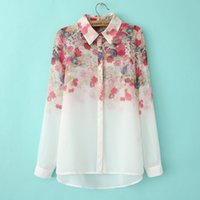 Wholesale long blouse neck designs - 2017 New Fashion Floral Print Chiffon Blouse Shirts Casual Elegant Graceful Brand Design Tops for Women 005.