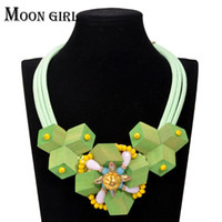 Wholesale flower rope necklace for sale - Big crystal flower wood statement necklace classic fashion Bohemia jewelry display Rope Chain Choker necklace for women accessories