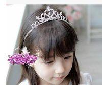 Wholesale Indian Princess Hair - Silver Princess Hair Band Tiara Rhinestone Headband For Kids Girl Children children's jewelry exquisite shining rhinestone crown headdress