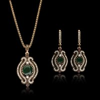 2016 Design de marca Vintage Antigo brinco de ouro e colar Conjuntos de jóias Crystal Pave Delicate women Jewelry National Jewelry sets