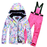 Wholesale Ski Boards - Wholesale- Women's Skiing Suit Windproof Mountain Fleece Padded Ski Jackets and Pant set Winter Snow Thicken Board Snowsports Clothing