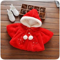 Wholesale Cape Poncho Coats For Girls - Wholesale-new fashion 2016 baby girl wool coat hoodies winter warm chidlren fur Cape coats for Christmas clothes girls jacket fleece