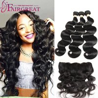 Wholesale human hair - Body Wave and Straight Human Hair Bundles With Lace Frontal Human Hair Extensions Brazilian Peruvian Indian Malaysian Virgin Hair Products