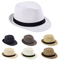 Wholesale Solid Fedora Kids - Summer Beach Sunhat Fedora Trilby Straw Hat Gangster Cap Fit For Kids Children