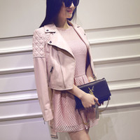 Wholesale Pink Leather Jackets For Women - 2016 Famous Brand Jacket 100% genuine leather jacket Womens pink Leather outerwear Jackets for Women sheepskin dropship