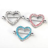 Wholesale Nipple Dangles - 3Pair Nipple Ring Heart Gem Dangle Chain Nipple Shield Ring Body Jewelry Nipple Shield Rings Jewelry Helix Piercing Barbell