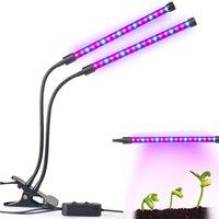 led flexible crece la luz al por mayor-LED Grow Light 18W Doble cabeza 2 niveles Regulable Lámpara de cultivo de plantas con cuello de cisne flexible ajustable de 360 grados para plantas de interior Hidroponía