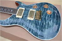 Wholesale Bird Guitars - Custom Reed Smith Qulit Flame Maple Top Vintage Blue Electric Guitar Eagle Headstock Logo MOP Birds Inlay Tremolo Bridge Gold Hardware