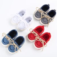 Wholesale baby crib shoe sizes - Wholesale- Spring Autumn Classic Handsome Baby Boy Girl Blue Sneakers Soft Bottom Crib Shoes 3 Size Newborn to 18 Months Free Shipping
