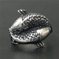 Wholesale Double Fishing Rings - 3pcs lot New Arrival Double Fish Ring 316L Stainless Steel Fashion jewelry Cool Popular Lucky Fish Ring