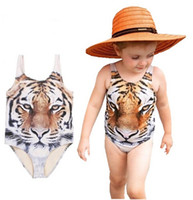 Wholesale Tiger Clothing For Girls - Girls Bikini Girls One-piece Swimwear 2016 Summer 3D Tiger Printing Baby Infant Swimsuit for Girls Kids Baby Swimming Clothing