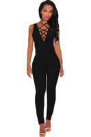Wholesale Black Silk Jumpsuit Women - Wholesale-2016 Sexy Hot Clubwear Black Thick Milk Silk Lace Up Jumpsuit Women Romper Bodysuits Macacao Feminino Longo LC64091 hot sale