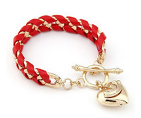 Wholesale New Golden Heart Charm Bangle - 2016 New !!! Fashion Fine Jewelry 5 Colors Bohemian Style Golden Heart Pendants Braided Rope Bracelets & Bangles For Women