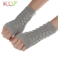 Vente en gros - Stylish 2017 Women Fashion Knitted Arm Gants d'hiver sans doigts Unisex Soft Warm Mitten for lady