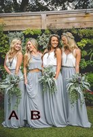 Wholesale Two Piece Halter Wedding Dresses - mixed styles 2018 Bridesmaid Dresses two pieces v neck pleated chiffon maid of honor gowns floor length prom dresses wedding party dress