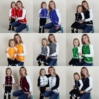 Wholesale Sweater Mother Daughter - Family Matching Outfits Sweater Baseball Style Pullover Mother and Daughter Clothes Autumn Spring Winter Sweater False cardigan