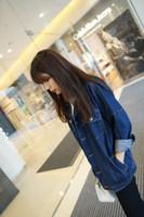 Wholesale Korean Women S Jeans - Spring & autumn new Korean bf medium-long loose plus size coat women batwing long-sleeve denim outerwear female jeans shirt